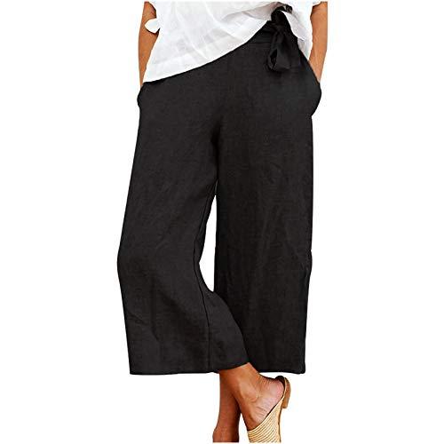 Winkey - Pantalones de algodón para mujer, holgados, color puro, talla grande negro M