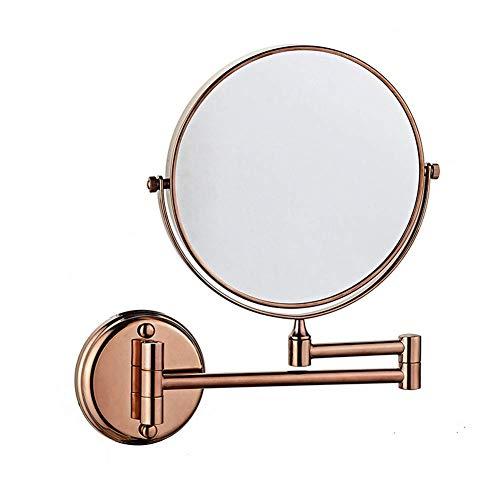 Schminkspiegel 8-Zoll-beidseitig drehbarer Wandspiegel, ausziehbarer klappbarer Badezimmerrasur Kosmetischer Schminkspiegel - 3-fache / 1-fache Vergrößerung mit Bohren