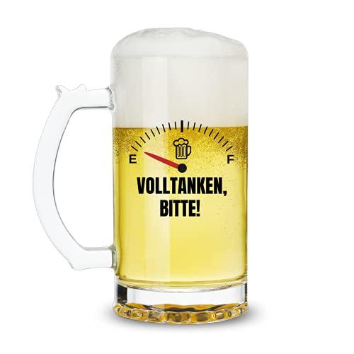 Lustig Bier Geschenk für Männer Papa Ihn Opa Freund, Biergläser 0,5l Biergeschenk für Vatertag Geburtstag Weihnachten Oktoberfest Valentinstag - Fuel Meter