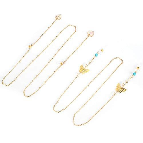 Jadpes 2 peças de corrente de óculos femininos, corda de óculos, liga moderna, antiderrapante, acessório de corda para a mãe da família