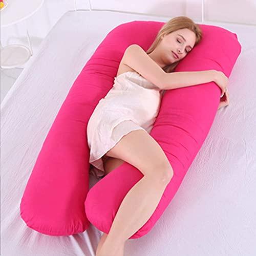 Almohada para Mujer Embarazada, en Forma de U, Almohada para Todo el Cuerpo, sueño Lateral, Embarazo, Soporte para la Cintura, Soporte para piernas, Soporte para el Vientre, Rosa-2.8 kg