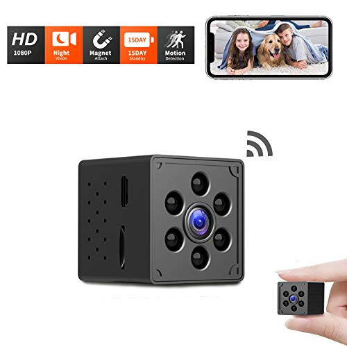 Mini WiFi Spy Camera, Wireless Hidden Camera HD 1080P 24H Live Streaming, Night Vision, Motion Detection, Magnetic Small Nanny Cam Home Security Camera, Longer Battery Life, New Android/iOS App