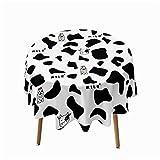 Highdi Impermeable Mantel de Redondo, Antimanchas Lavable Manteles 3D Estampado Vacas Moderno Decoración para Salón Cocina Comedor Mesa Exterior (Vaca Linda,Redondo 90cm)