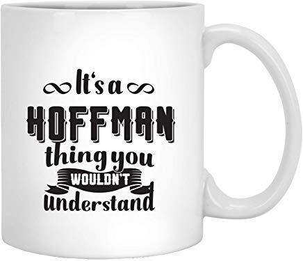 Queen54ferna Hoffman - Taza de café de cerámica blanca de 325 ml, diseño con texto en inglés