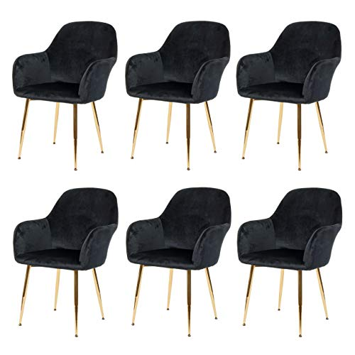 Mendler 6X Esszimmerstuhl HWC-F18, Stuhl Küchenstuhl, Retro Design - Samt schwarz, goldene Beine