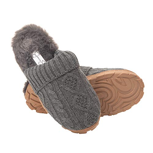 Jessica Simpson Women's Soft Cable Knit Slippers with Indoor/Outdoor Sole, Charcoal, X-Large