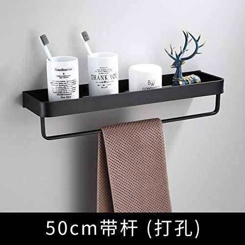 Estante de baño Estante de Ducha de baño Aluminio Negro Estante de Esquina de baño Soporte de Almacenamiento de Cocina de Aluminio Negro montado en la Pared - 50 cm con Barra, a2