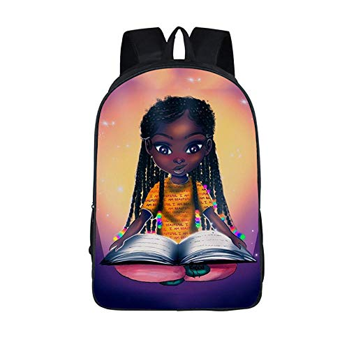 QPYYBR Afro Girl Backpack Princess with Crown Children School Bags for...