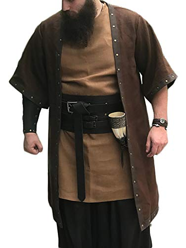 Herren Mittelalter Überwurf Umhang Tunika Kurzarm Hemd Wikinger Fashing Karneval Cosplay Kostüm