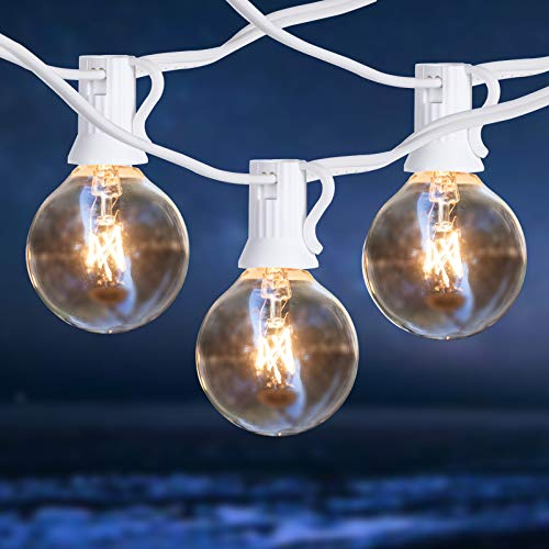 Outdoor String Lights, Warm White 50 ft G40 Backyard Lights with 53 Edison Clear Bulbs, Waterproof Hanging Lights for Patio Porch Backyard Balcony Wedding Parties Outdoor Indoor Lighting