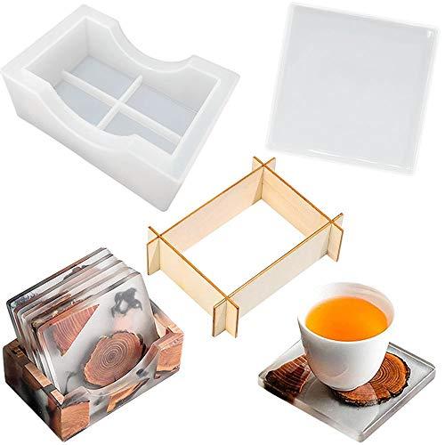 Juego de 6 moldes de resina para posavasos con soporte de almacenamiento de resina epoxi de silicona, moldes de cristal, para decoración del hogar, manualidades, paquete de 6 (con marco de madera)