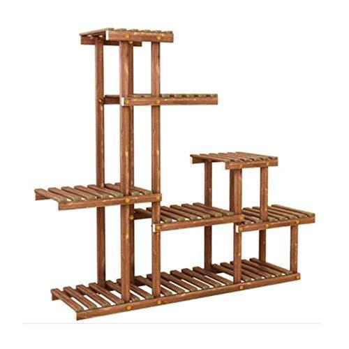 hsj Soporte para macetero, balcón, para interiores, multicapa, de madera maciza, para sala de estar, para el hogar, color verde