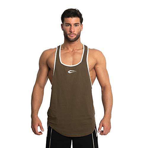 SMILODOX Herren Stringer Pump | Muskelshirt mit Aufdruck für Sport Gym Fitness & Bodybuilding | Muscle Shirt | Tank Top | Unterhemd | Achselshirt | Trainingshirt, Größe:M, Farbe:Olive