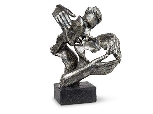 Exklusive Deko Büste Skulptur Liebespaar aus Kunststein Antikfarben Höhe 34 cm