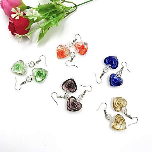 skyllc 5 Pares de Accesorios con Encanto Flores Pendientes de corazón de Cristal de Murano Personalizados Pendientes para Mujeres Niñas
