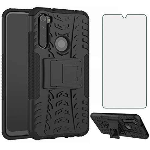Phone Case for Xiaomi Redmi Note 8 with Tempered Glass Screen Protector Cover Flim and Stand Kickstand Slim Hard Rugged Hybrid Cell Accessories Xiami Xiomis Xiome Redme Note8 Notes 8s Cases Men Black