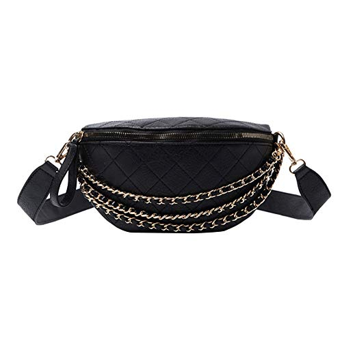Xpccj Riñonera de piel sintética para mujer, con correa de piel sintética, para bananka en un cinturón de moda, estilo salvaje, para mujer, correa para el vientre, bolsa para cinturón (color: negro)