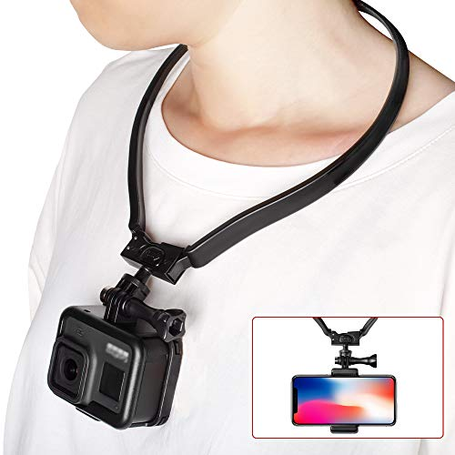 Taisioner POV / VLOG Smartphone Selfie Neck Holder Mount for GoPro AKASO Action Camera and Cell Phone Video Shoot Accessories ( Third Generation )