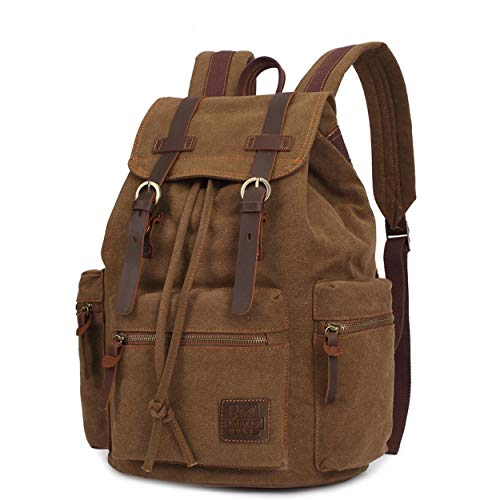 OCCIENTEC Casual Backpack Vintage Canvas Travel Rucksack fit 15 inch Laptop for School College Hiking Camping Bag (Coffee)