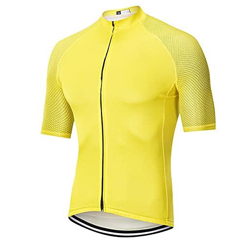 LSZ Jerseys De Ciclismo para Hombres, Transpirable, Manga Corta, Cremallera Completa, Camisa De Bicicleta, Camisetas De Ciclismo, Ropa Deportiva De Equipo (Color : Amarillo, Talla : X-Large)