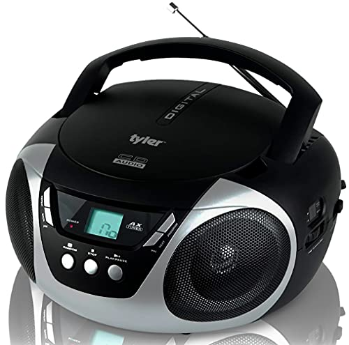Tyler Portable CD Player Boombox Radio AM/FM Top Loading AC & Battery Compatible Aux Input & 3.5mm...