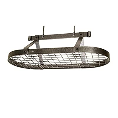 Enclume Premier 3-Foot Oval Ceiling Pot Rack, Hammered Steel by Enclume