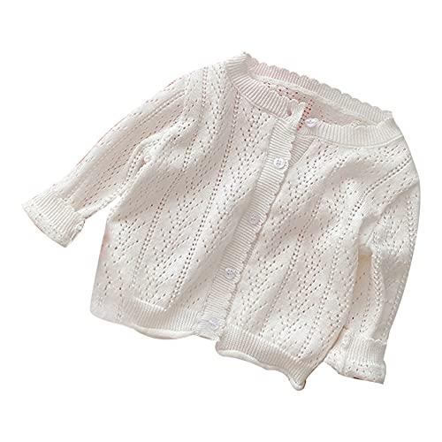 Oyolan Baby Little Girls Long Sleeve Cardigan Bolero Shrug Cropped Knitted Sweater Jacket Flower Girl Dress Cover Up White 12-18 Months