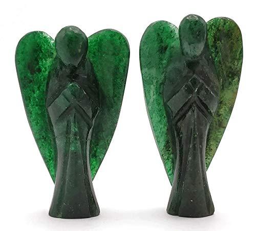 Figura de ángel de cristal de aventurina verde oscuro de 7,62 cm, ángel de la guarda