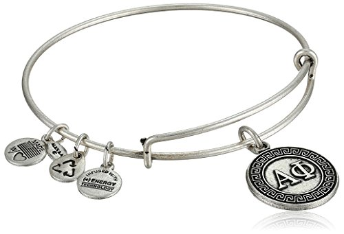 Alex and Ani 'Sorority' Alpha Phi Expandable Rafaelian Silver-Tone Wire Bangle Bracelet