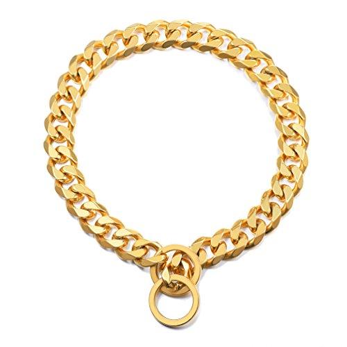 PROSTEEL Collar Resistente de Perro Cadena de Acero Inoxidable 15mm de Ancho Cadena de Seguridad, Dorado 66cm