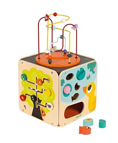 Janod - Maxi Cube Multi-Activités Looping - Jouet d'Éveil en Bois - Manipulation et Encastrement - Dès 18 Mois, J08256