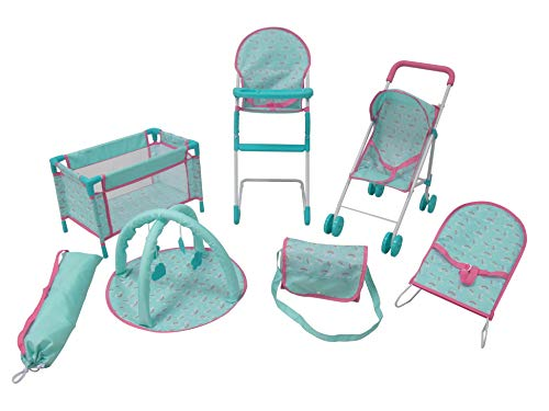 KOOKAMUNGA KIDS 6 Piece Doll Accessories Playset | Toy Pram Stroller | High Chair with Feeding Tray | Playpen and Travel Cot | Baby Bouncer | Diaper Changing Bag | Activity Play Mat (Blue Rainbow)