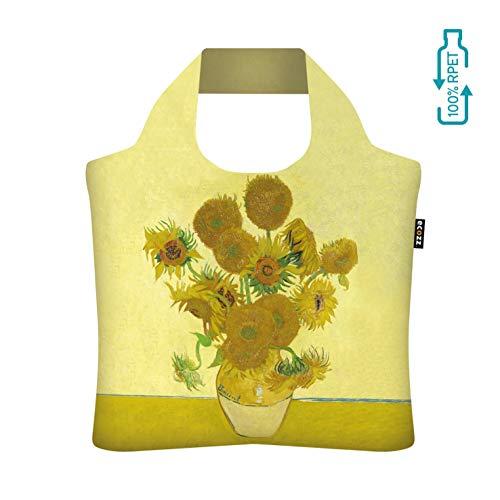 ecozz Sunflowers - Vincent Van Gogh, faltbar, Einkaufstasche mit Reißverschluss, Wiederverwendbar, Tragetasche, Handtasche, Tote Bag, Strandtasche, Umweltfreundlich, Einkaufsbeutel