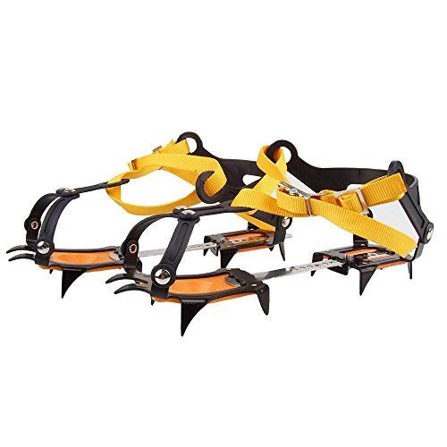 NAMVO 10 Dents Livré avec le snowboard Chaîne de soudure Crampons en acier inoxydable Ski de plein air Hivernage Randonnée Escalade Longueur réglable