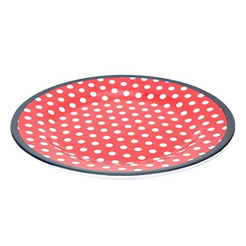 Plato redondo de ensalada de postre de 22 cm/8,7 pulgadas, vajilla de resina resistente a la temperatura para el hogar, restaurante, cocina de hotel(puntos rojos)