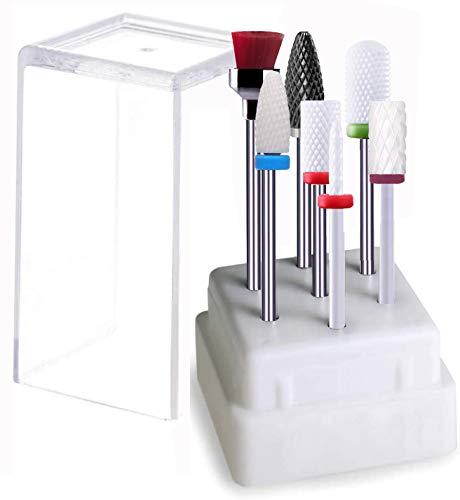 GeekerChip Keramik Nagelfräser Bits, keramik bits für nagelfräser,7Pcs Professioneller Nagelfräser Aufsätze Set für Kutikula Maniküre Pediküre Nagelpflege