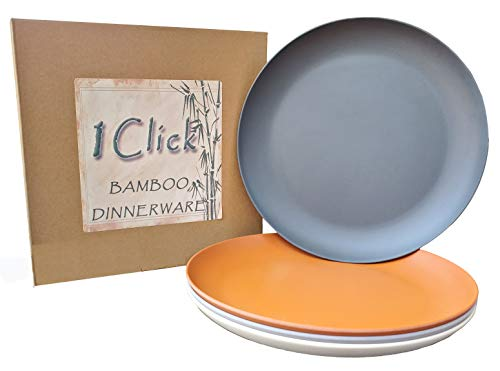 1 Click Bamboo Fiber 10 inches Dinner Plates, Set of 4, 4 Color, modern Bamboo dinnerware for Indoor and Outdoor Events