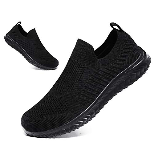 JIAFO Men's Casual Running Shoes Walking Sock Slip on Lightweight Breathable Sneakers Athletic Fashion Sports Shoes (All Black, 10, 10)