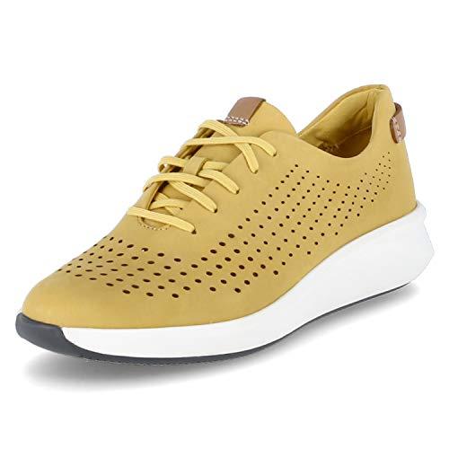 Clarks Un Rio Tie Nubuck Zapatos de corte estándar, talla 6, color amarillo