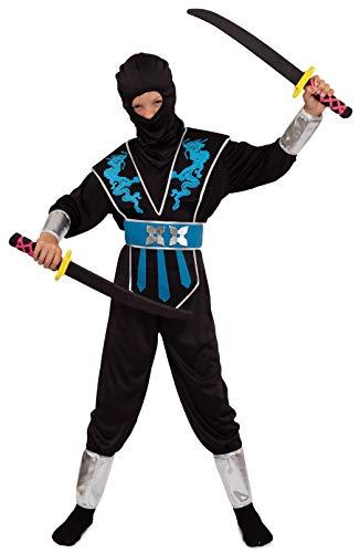Magicoo Costume da drago blu argentato, per bambini, taglia 110 fino a 140, nero/blu/argento, per carnevale bambini (122/128)