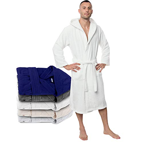 Twinzen Bademantel 100% Baumwolle Kapuze für Herren Oeko TEX Zertifiziert - Morgenmantel 2 Taschen, Gürtel und Schlaufe zum Aufhängen - Weich, Saugfähig und Bequem, XS, Weiß