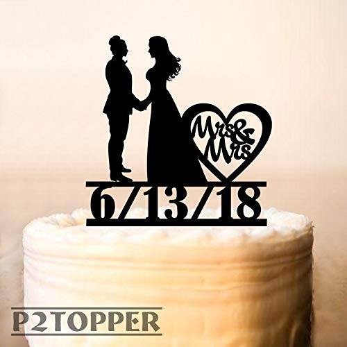 Lesbian Cake Topper With Date,Lesbian Wedding Cake Topper,Same Sex + Date Cake Topper,Mrs And Mrs Cake Topper, Wood Cake Topper