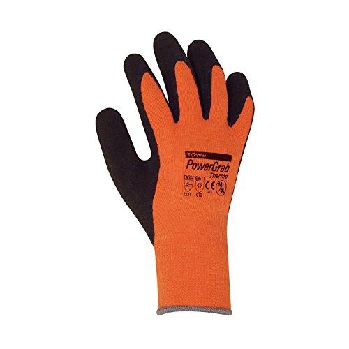 Winterhandschuhe - 12 Paar - PowerGrab Thermo - Montagehandschuhe - Handschuhe - Arbeitshandschuhe - Schutz nach EN 388 und EN 511 - Größe 7 - Farbe: orange/schwarz