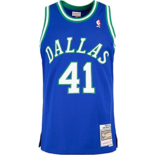 Mitchell & Ness Swingman Dirk Nowitzki Dallas Mavericks 98/99 - Camiseta (talla XL), color azul