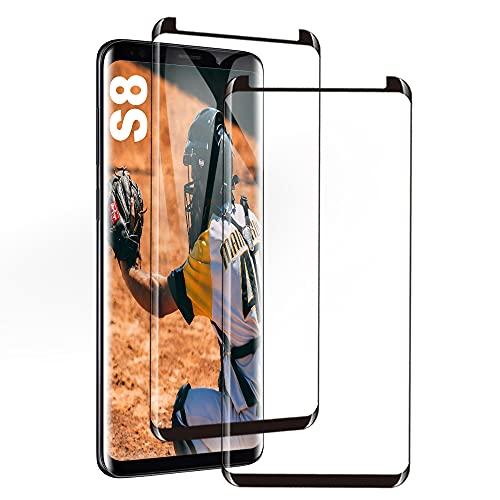 Galaxy S8 Film Protection Ecran Verre Trempé, [2 Pièces] [Case Friendly] [Ultra Claire] [sans Bulles] Film Protecteur en Verre trempé de Haute qualité pour Samsung Galaxy S8