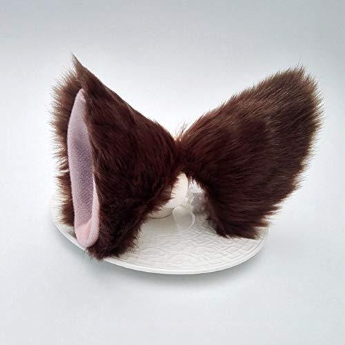 Sdkmah9 - Horquilla de pelo con orejas de gato para cosplay, No nulo, café, Tamaño libre