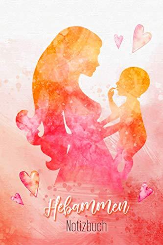 Hebammen Notizbuch: Geburtshelferin Hebammen Notizbuch DIN A5 Punktraster   Schreibbuch   Tagebuch   Notizheft   A5   120 S   Aqurell