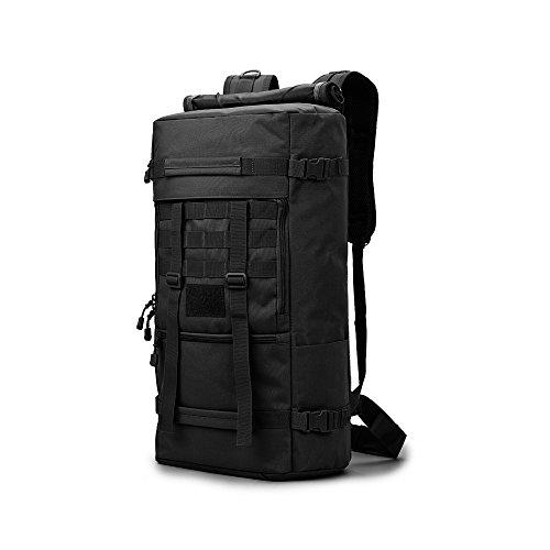 LONGDA Sac à dos de randonnée, 45 L, étanche, pour sports de plein air, randonnée, camping, voyage, sac à dos militaire avec compartiment pour ordinateur portable, Noir