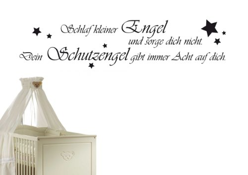 W1 (116x28cm) schwarz - Wandtattoo Schlaf Kleiner Engel und Sorge Dich Nicht. Dein Schutzengel gibt Immer acht auf Dich. - Sprüche Zitate Wandaufkleber