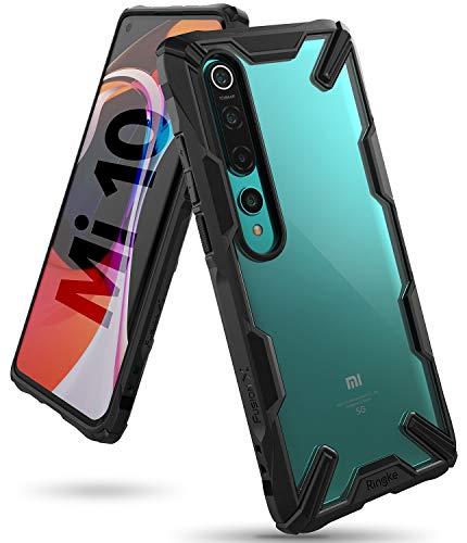 Ringke Fusion-X fürs Xiaomi Mi 10 Hülle, Transparent Rückseite mit Verbesserter TPU Silikon Rahmen Schutz für Xiaomi Mi 10 Pro - Schwarz